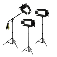 Bresser LED Foto-Video SET 3x LG-600 38W/5.600LUX + 2x Statief + 1x Boomstatief